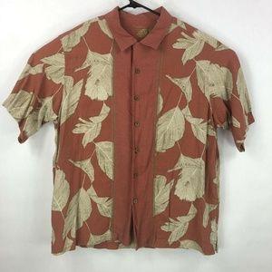 Caribbean Joe Mens Red Silk Button Up Shirt XL A40